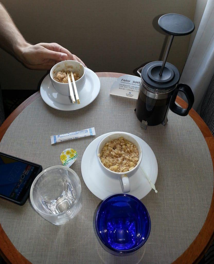 Breakfast of Oatmeal in Kyoto Japan