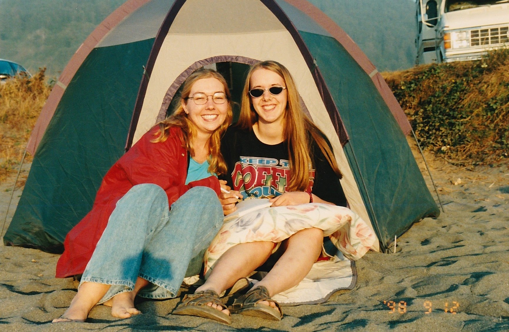 Best friend in a tent on a beach