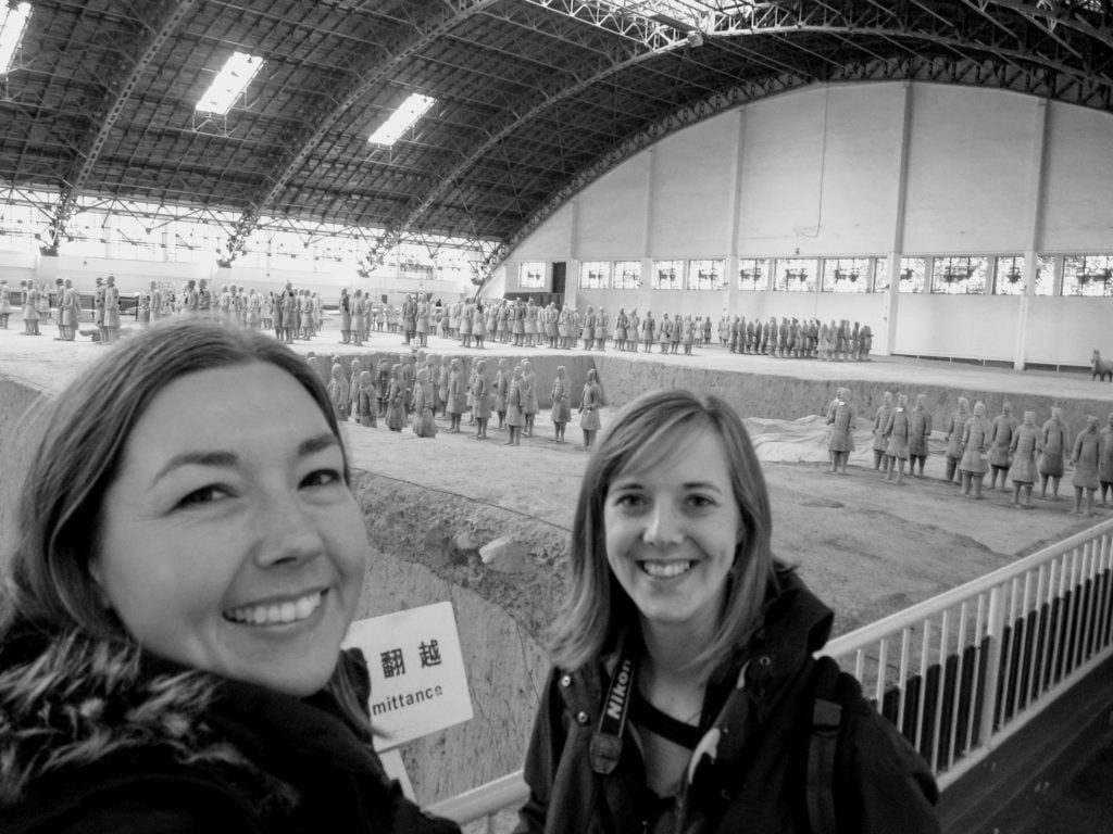 Two friends travel and see the Terracotta Soldiers, Xian China