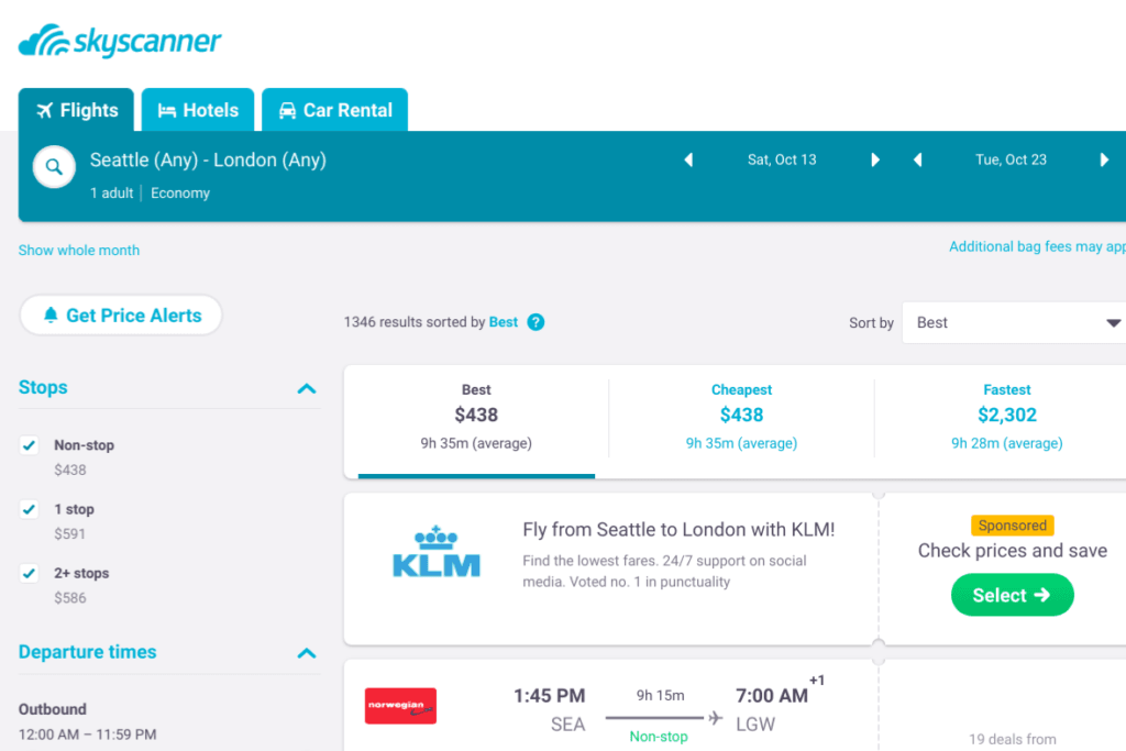 skyscanner screenshot on setting up email alerts for cheap flights