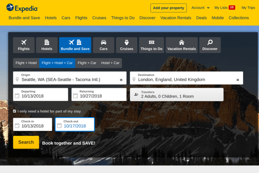 Expedia screenshot on how to bundle a flight and hotel for cheaper deals