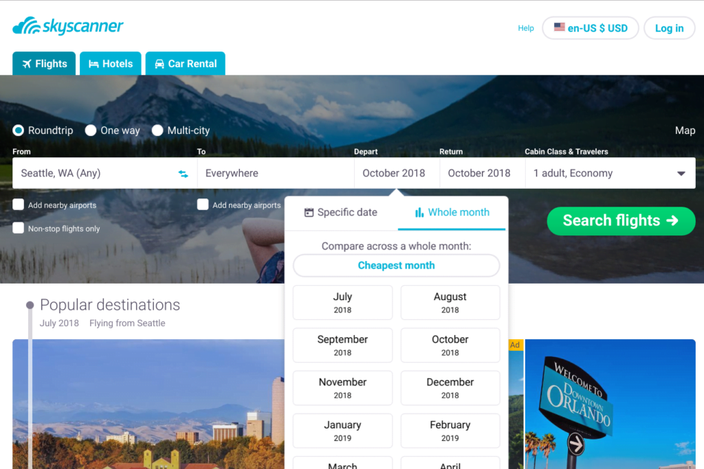 skyscanner screenshot for finding the cheapest date to fly