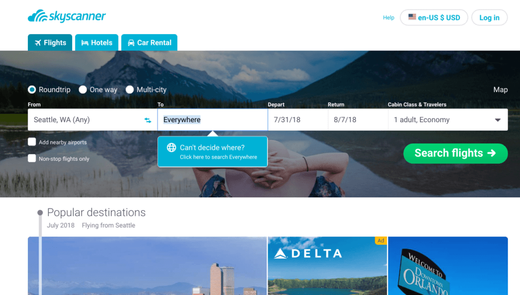 Skyscanner airfare finding tool to book your flight to everywhere search option