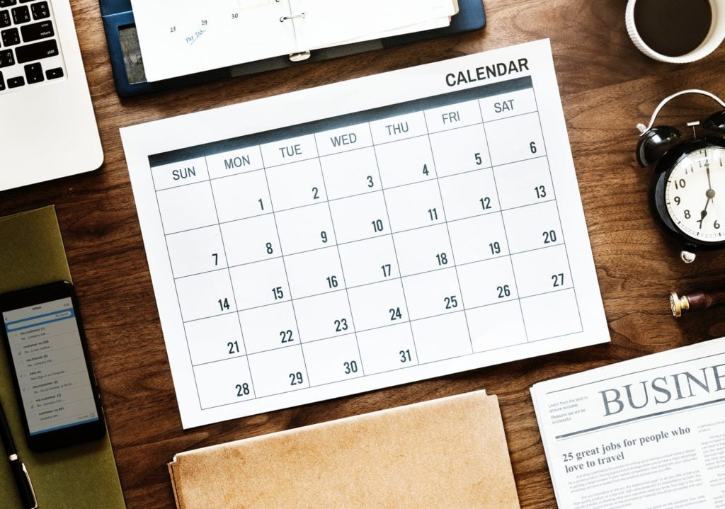 Calendar for vacation planning