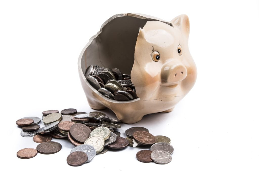 piggy bank with change in it