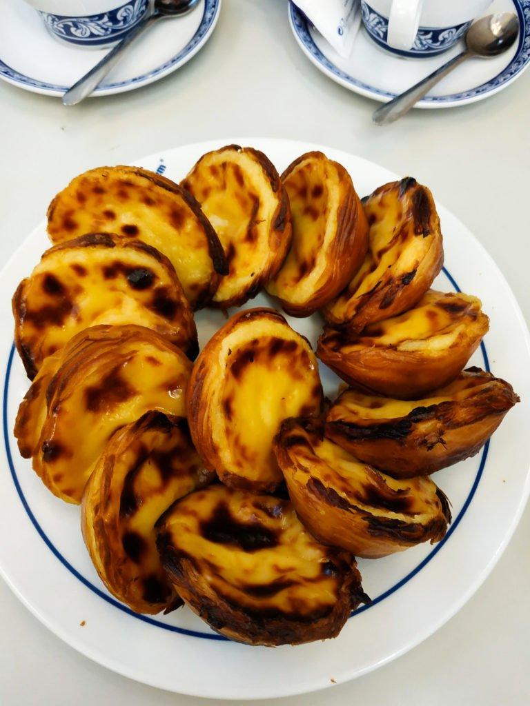 Plate of pasteis Portuguese custard tarts