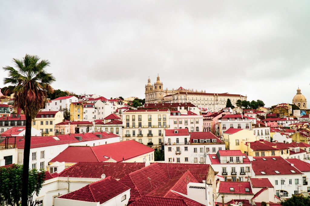 Looking over the top of the Alfama Neighborhood in Lisbon.