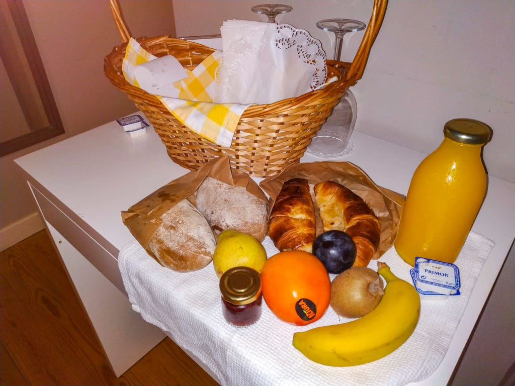 Basket of fruit and pastries from hotel in Lisbon