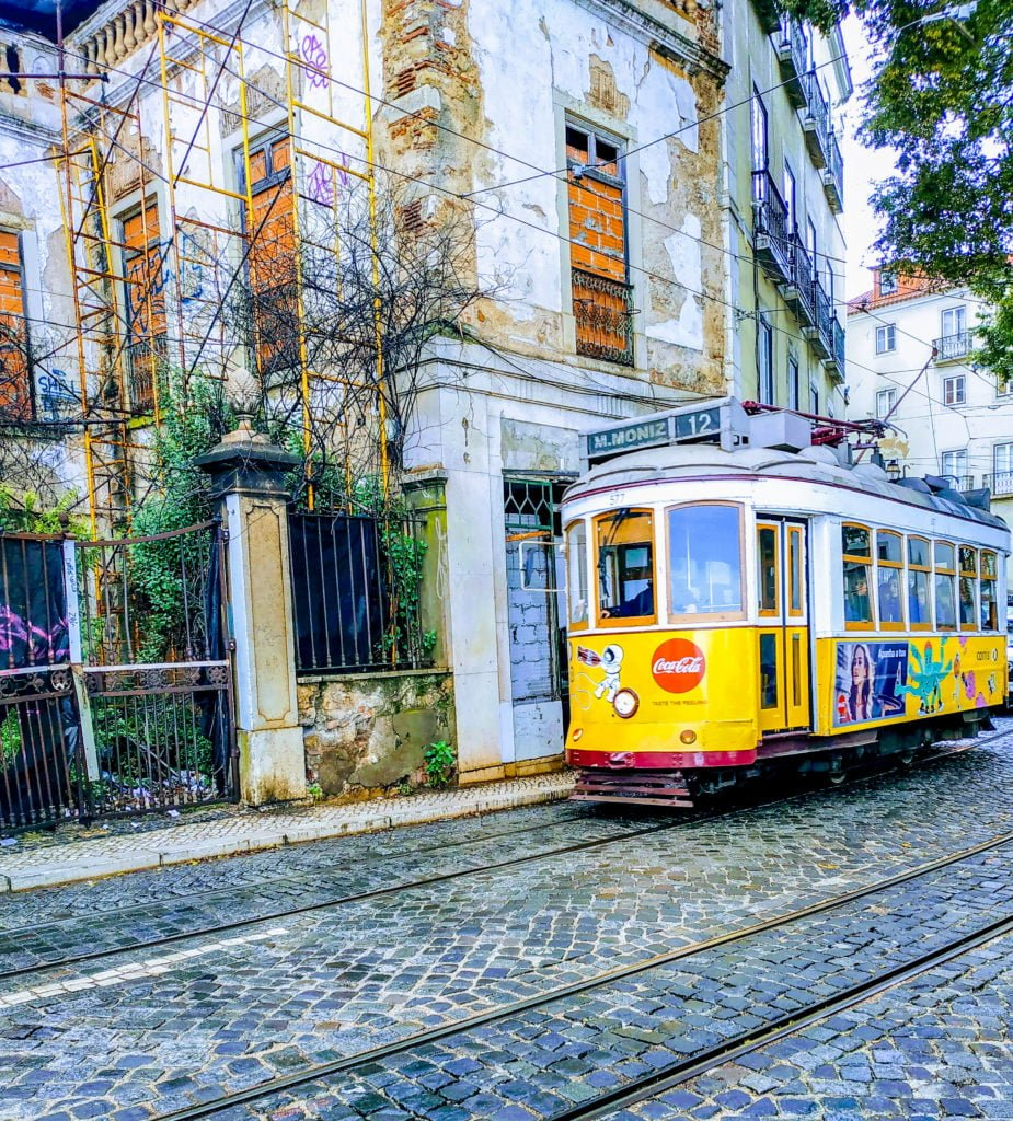 Yellow street tram in Lisbon Portugal