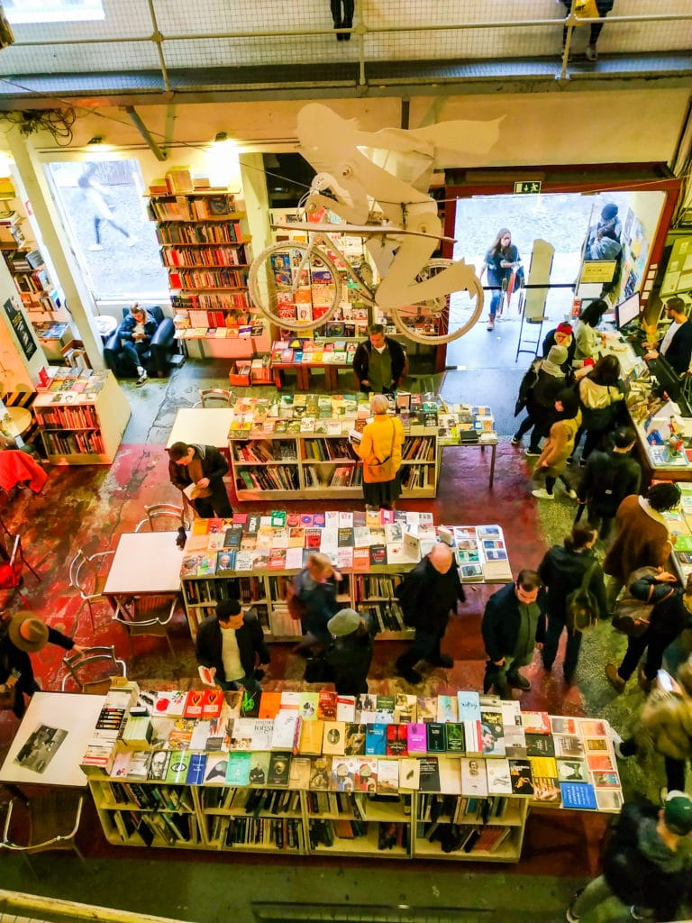 View of artsy Lisbon bookstore from the second floor.