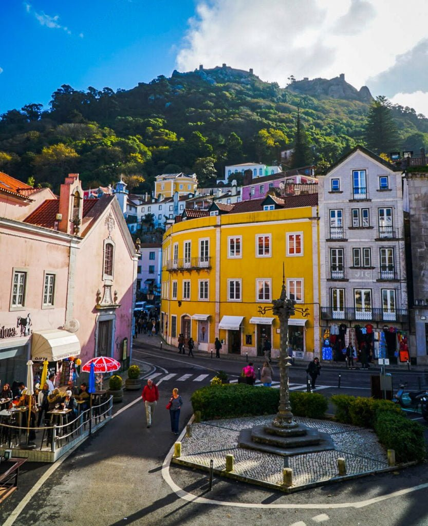 Sintra town square with monument