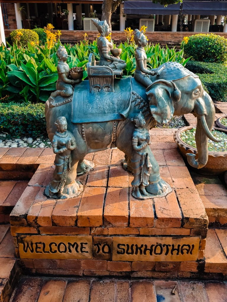 Elephant welcome sign at Sukhothai airport.