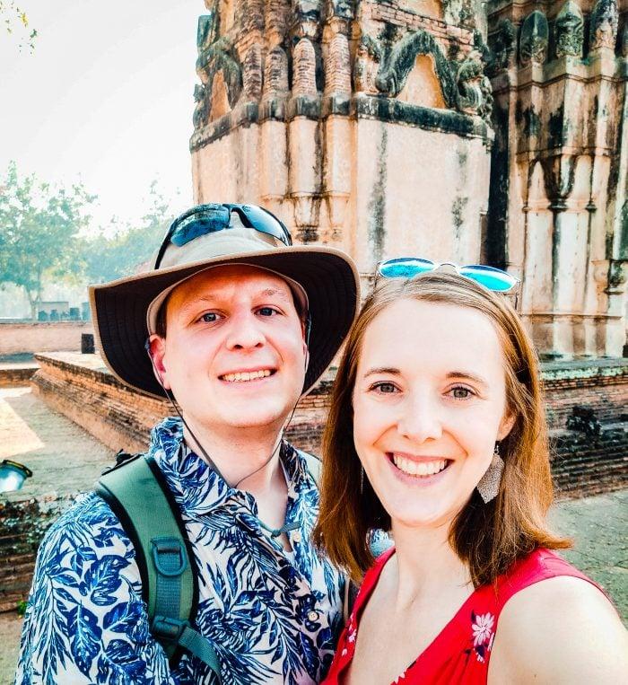 Selfie outside ruins in Sukhothai