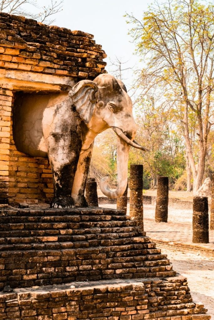 Stone elephant carved in monument