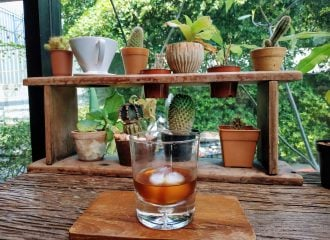 Cold brew coffee and cactus at Stand Alone Coffee bar