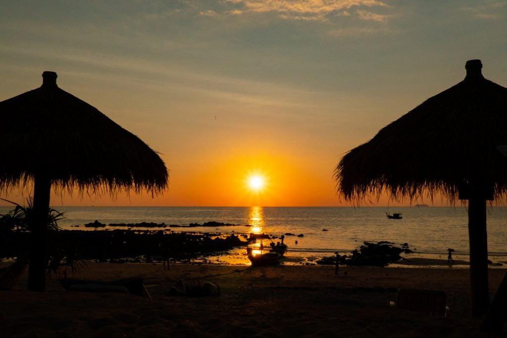 Sunset on the beach in Koh Lanta Thailand