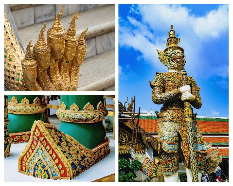 Gold statues at the Grand Palace in Bangkok