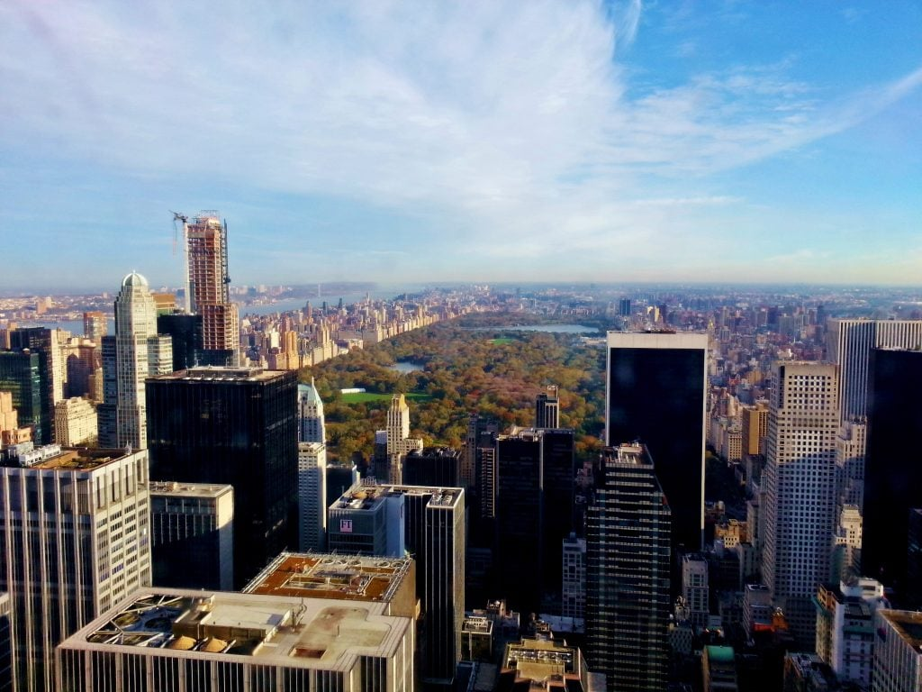 New York City View of Central Park from above