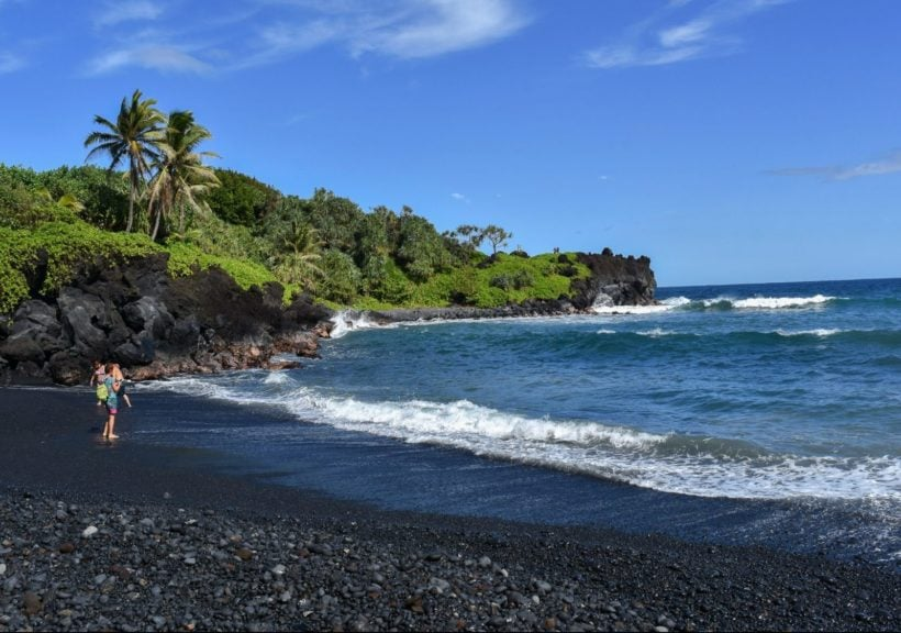 black rock beach at Wainapanapa State Park in Hana