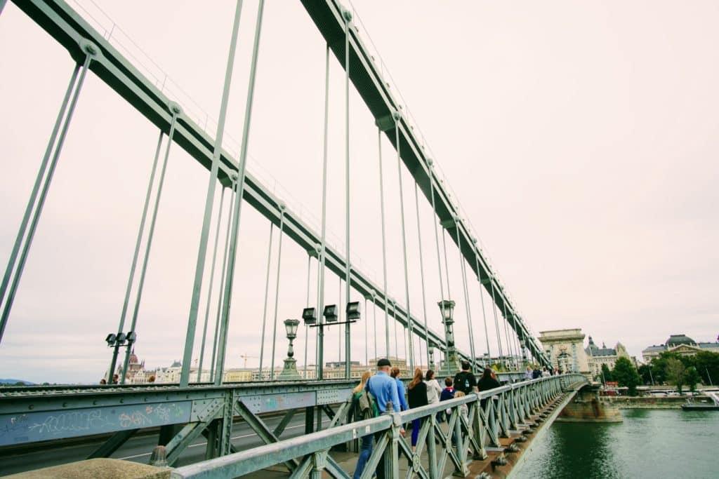 Pedestrians walking on Budapest Bridge