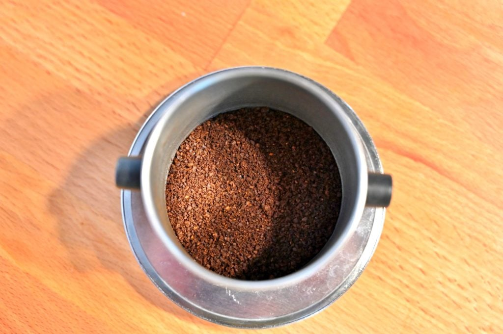 Vietnamese coffee filter with coffee