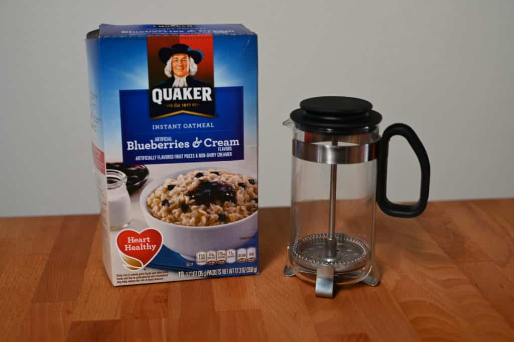 Oatmeal packets and single use french press