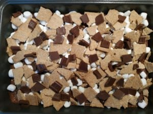 s'mores brownies about to be baked