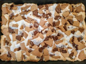 baking pan of s'mores brownies