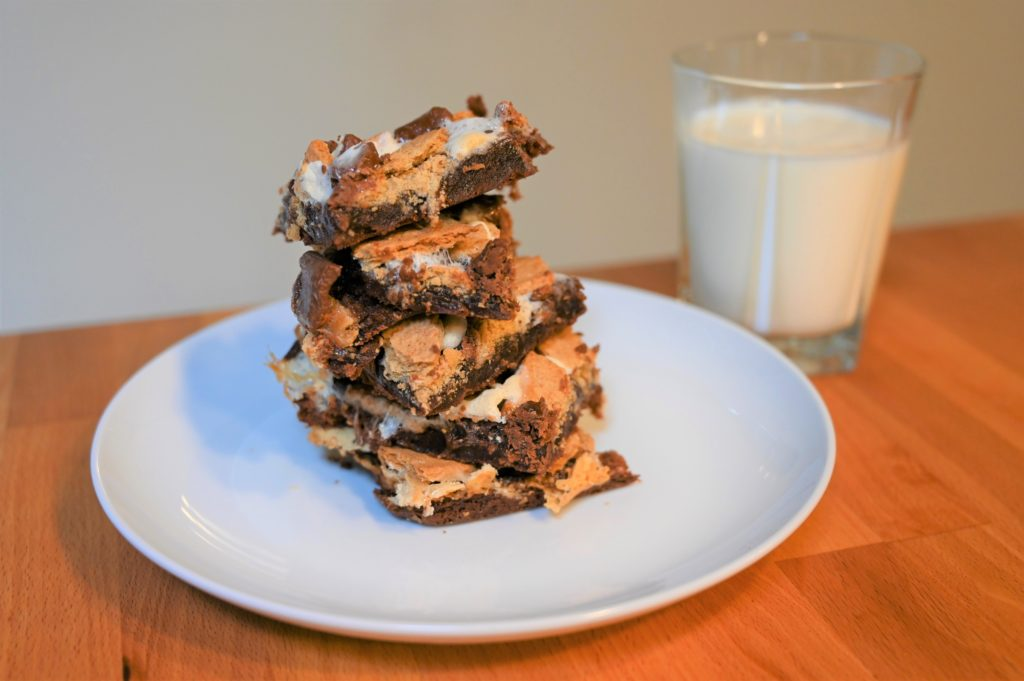 s'mores brownies with glass of milk