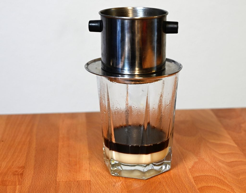 Vietnamese phin filter over cup