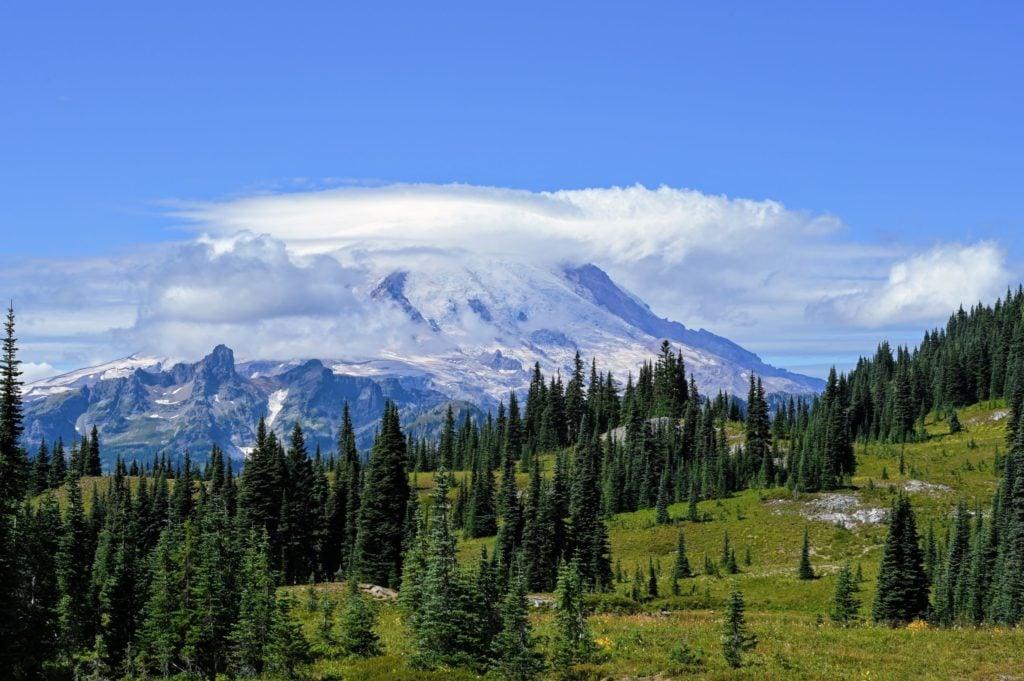 Mount Rainier with clouds around it