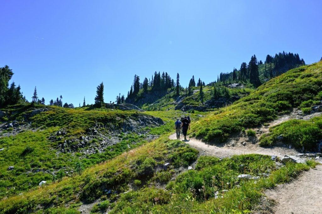 naches peak trail rocky hillside