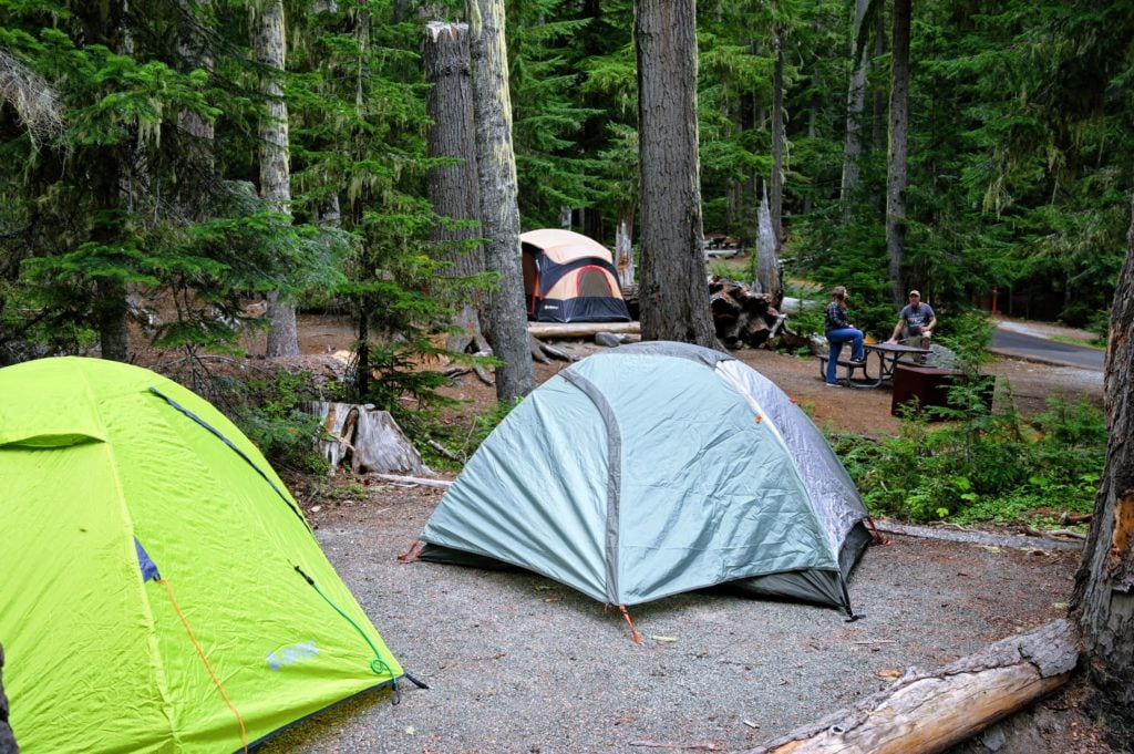Campsite with tents at White River Campground