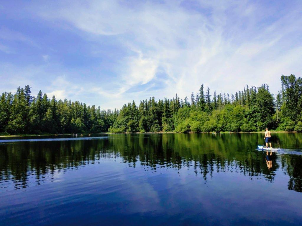 Stand up paddleboarder at Deep Lake
