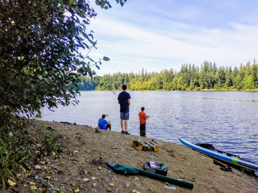 Fishing on the banks of Deep Lake at Nolte State Park
