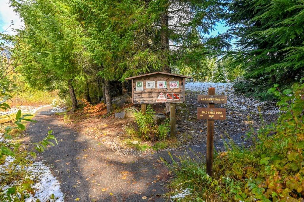 Gold Creek Pond trailhead sign