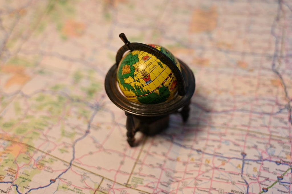 mini globe and road map