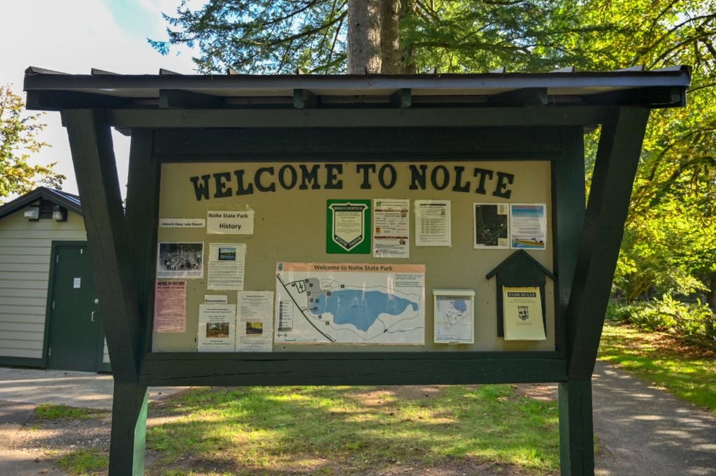 Welcome sign at Nolte State Park