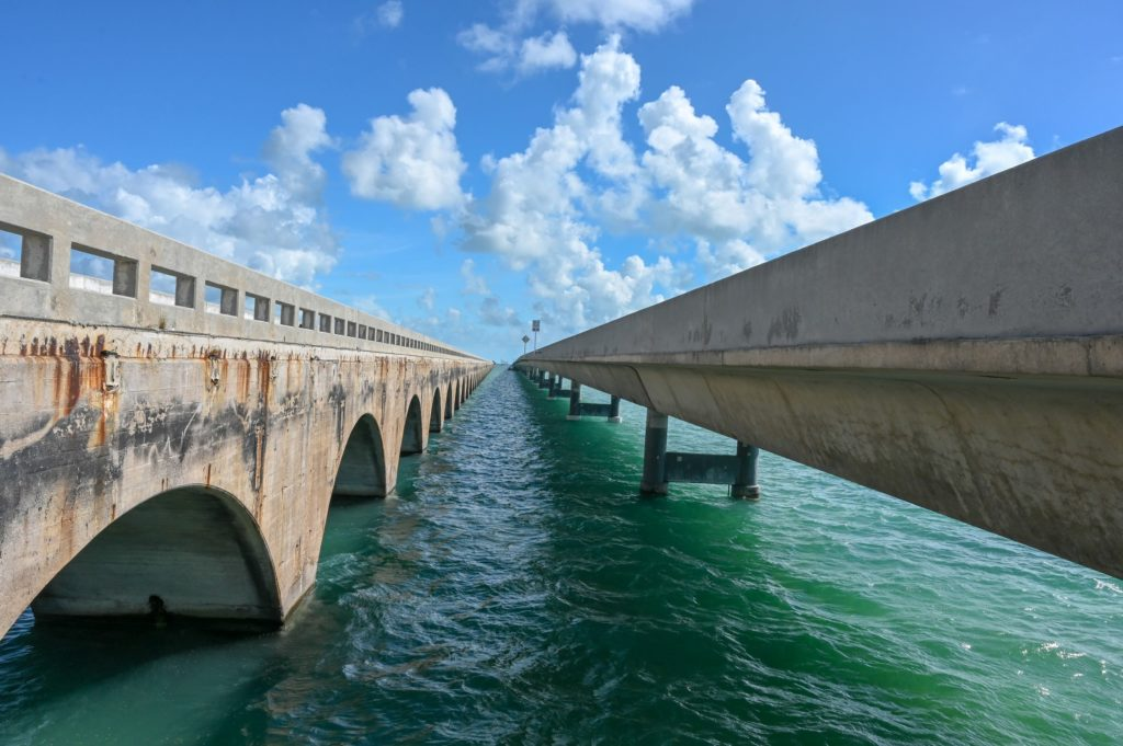 old and new 7 mile bridges in Florida Keys