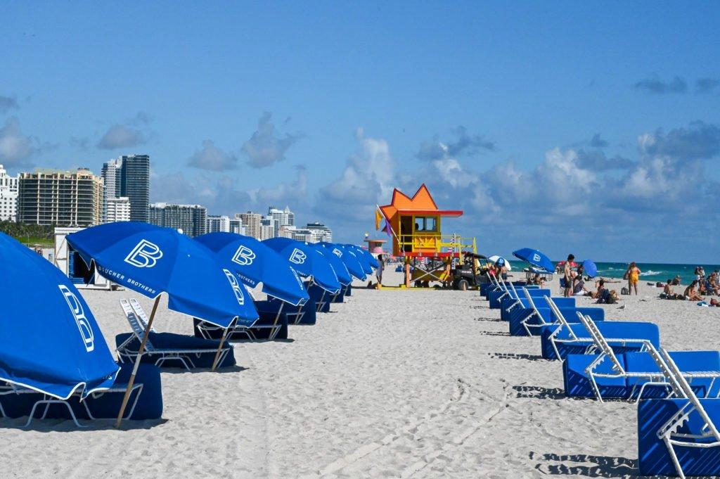 Miami Beach lifeguard hut and umbrella chairs