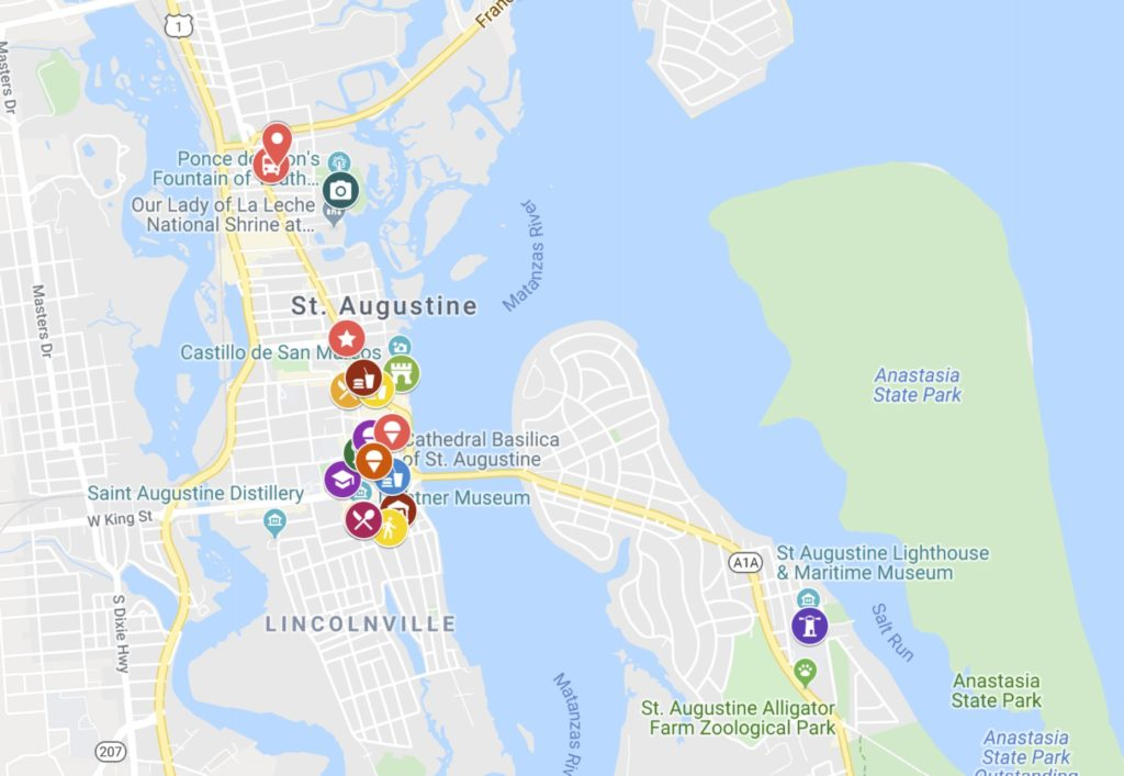 Map for day trip to St. Augustine