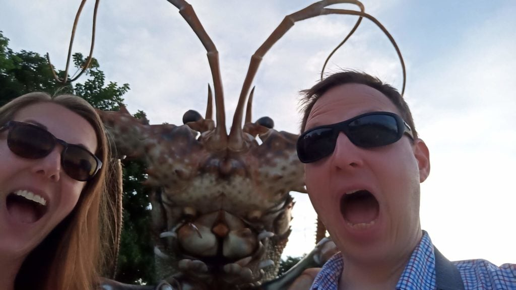 selfie with giant lobster