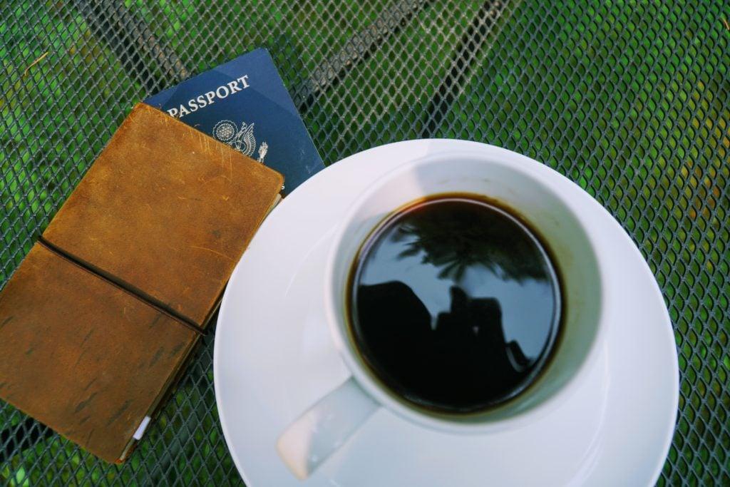 Coffee and travel passport