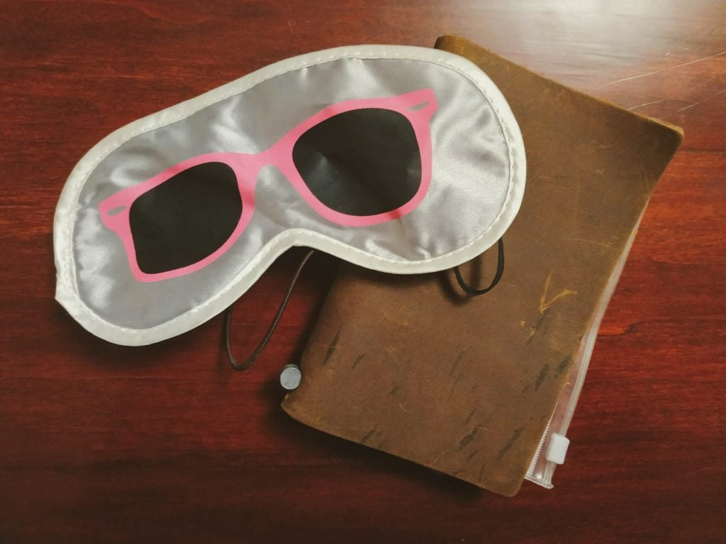 eye mask with travel journal