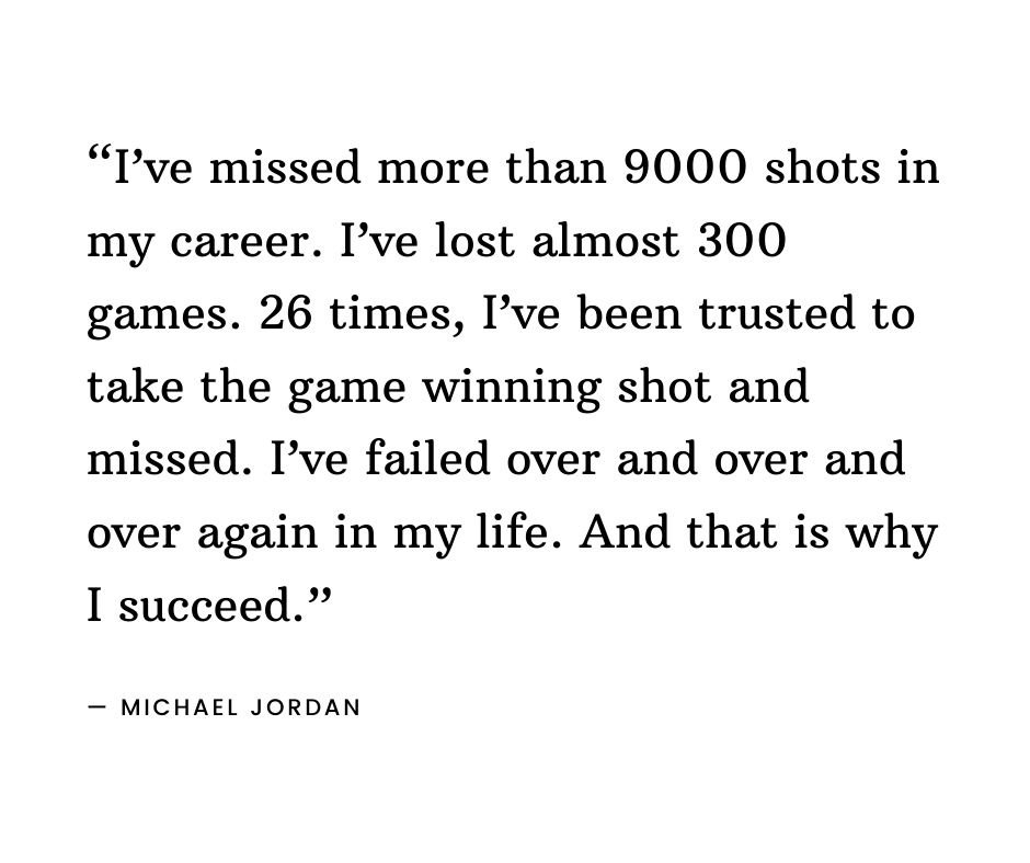 Michael Jordan quote on failure and not quitting