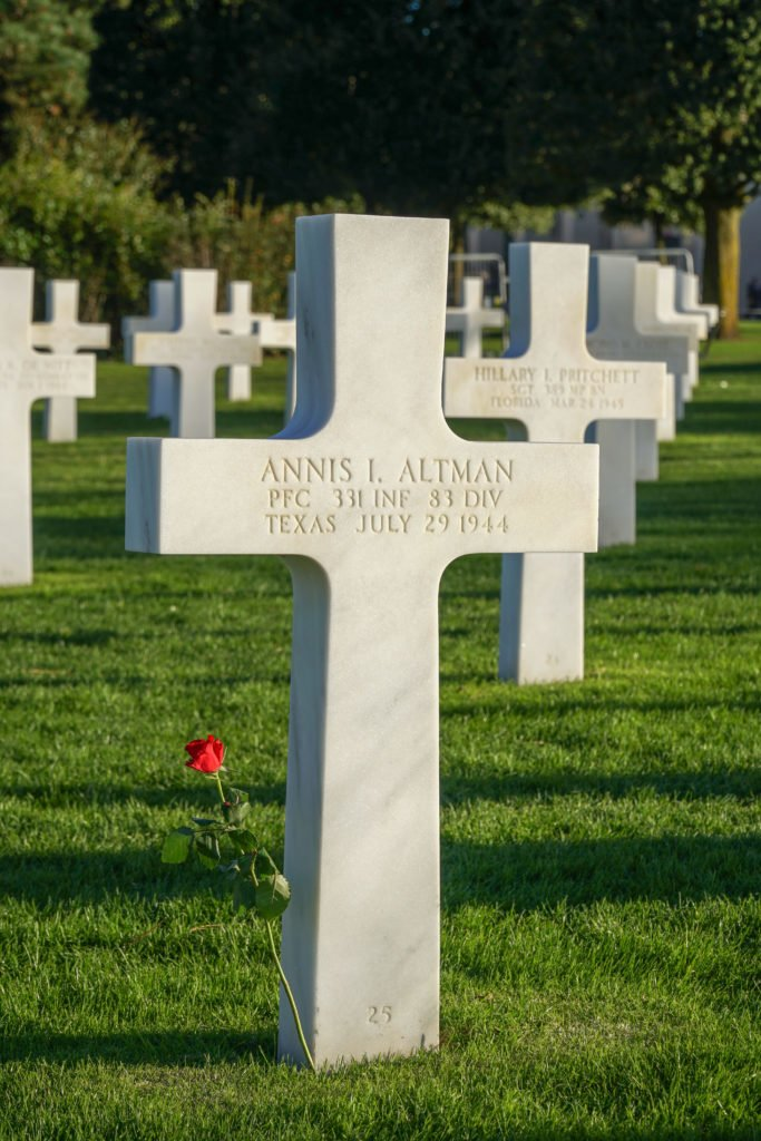 crosses at American Cemetery in Normandy.