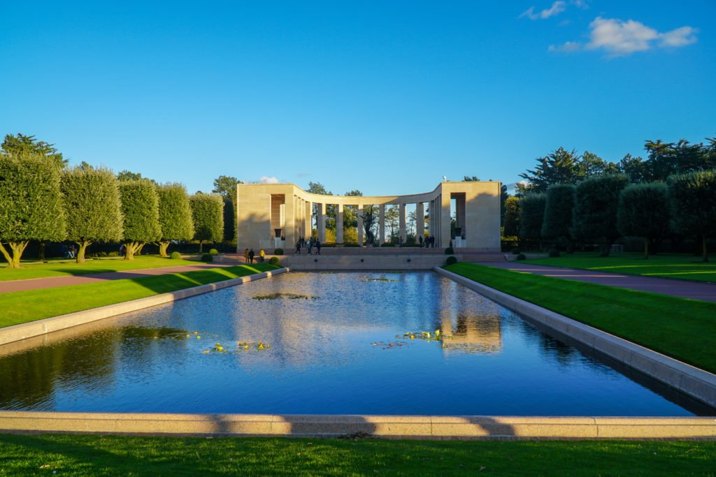 The reflection pool at Normandy American Cemetery.