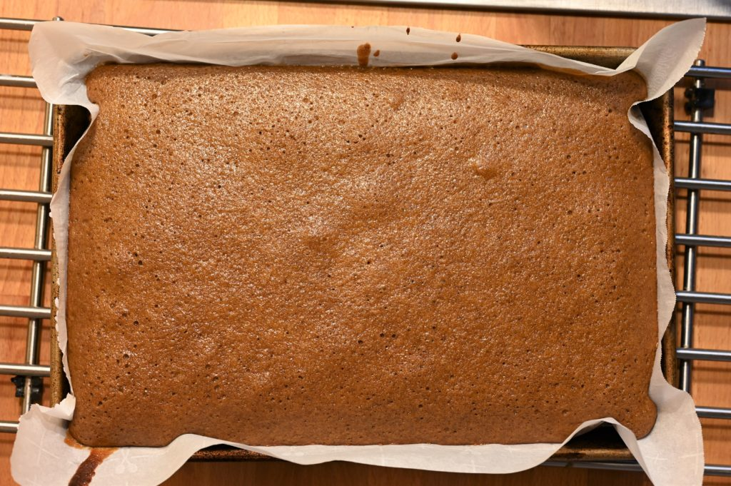 single layer of cake baked