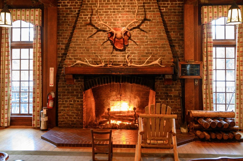 Fireplace in Lake Quinault Lodge