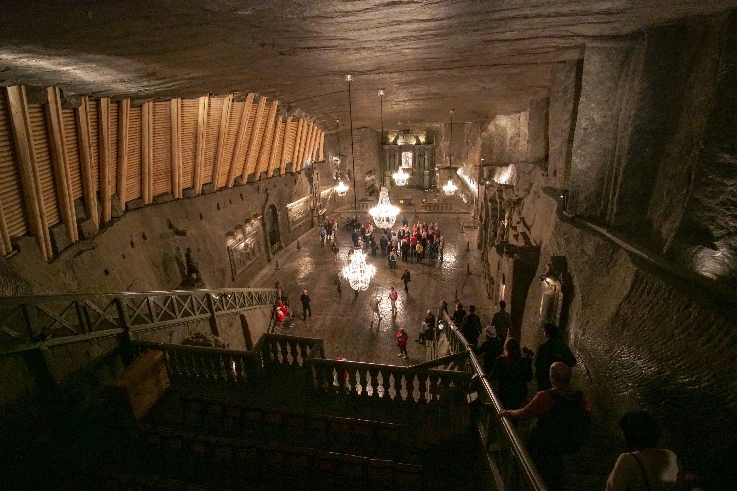 Looking down into St. Kinga's Chapel.